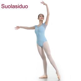 ed282505b671a Adult Dance Wear Short Sleeve Ballet Piece Costumes Women Dance Practice  Clothes Gymnastics Suits Dance Dress Ballet Leotards