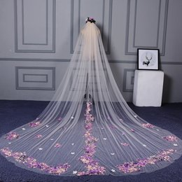 Long Hair Cuts Women Australia - Ivory Wedding Veil Cathedral Length With Comb Polyester Applique Cut Edge 4*3 Meter Bridal Veil Hair Accessories For Women Long Wedding Veil