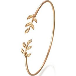 Silver leaf cuff bracelet online shopping - New Fashion Silver Gold Color Leaf Open Bangles Bracelets For Women Stylish Leaves Cuff Adjustable Bangle Punk Jewelry