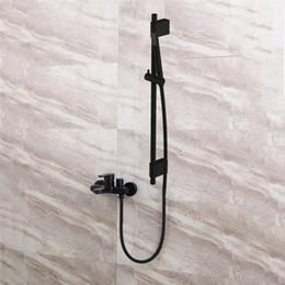 $enCountryForm.capitalKeyWord Australia - Black Shower Mixing Faucet Brass Wall Mounted Basin Faucet Single Handle Bathroom Mixer Tap & Shower Head Sets &Shower Slide Bar