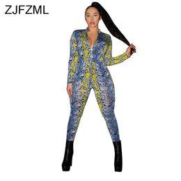 Yellow bodYsuits online shopping - Colorful Snakeskin Print Bodycon Jumpsuit Women Deep V Neck Long Sleeve One Piece Romper Streetwear Zipper Club Party Bodysuits