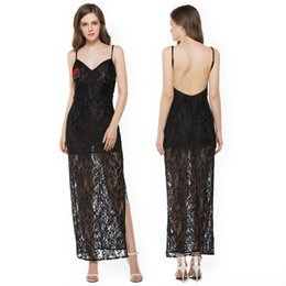 Wholesale black lace pencil cocktail dress resale online – prom dresses women Black lace rose embroidery deep v neck spaghetti strap backless sexy split party evening cocktail club dress