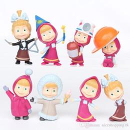 Wholesale Mini Gifts Australia - 8pcs a set MashaBear style toys Hand doll ornaments #523 Popular Toy Gift for kids Free Shipping Mini toys