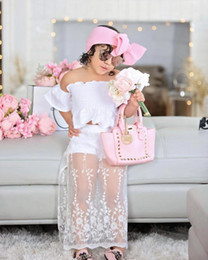 lolita clothes wholesale NZ - One shoulder girl Tube top doll shirt mesh guaze skirts boutique clothing Sets Summer New Casual suits Children girls outfits kids clothing