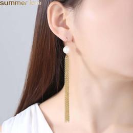Fashion Long Tassel Earrings Korea Style Imitation Pearl Long Chain Tassel Earrings For Women Summer Jewelry Gifts on Sale