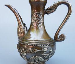 $enCountryForm.capitalKeyWord Australia - Antiques Folk Collection Brass Bronze Dragon Pot Teapot Kung Fu Tea Set Pure Copper Jug