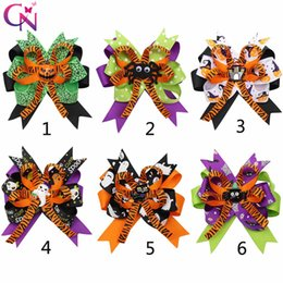 Discount hair designs for kids - 4.5''Halloween Hair Bows for Girls Designed Printed Hair Clip Pumpkin Ghost Patches Hairpin Festival Party Kid