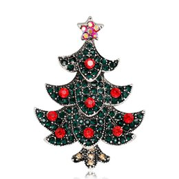 brooch bulk wholesale Australia - customized mushroon five 5 star rhinestone crystal 2 mixed colorful Christmas tree brooch pins bulk for woman adies of Decoration