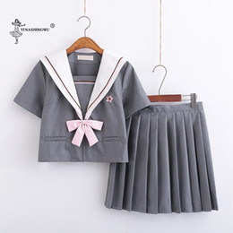 costume cosplay skirt red UK - Japanese JK Suit Korean Version Woman School Uniform Cosplay Costumes Student Girl Pleated Skirt Navy Gray Sailor Suit Polyester
