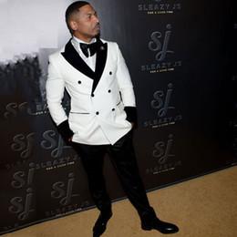 Peak Lapel Suits Australia - Custom Made White Men Suits for Wedding Prom Party Groom Tuxedos 2Piece Man Suits Business Blazers Coat Pants Peaked Lapel Costume Homme