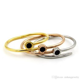 $enCountryForm.capitalKeyWord Australia - PB61 fashion most hot sell black round cake Rome figures gold plate nail bangle for gift free shipping