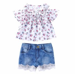 Cute Products Australia - Baby Girl Clothes Summer European and American products girl's floral print blouse + stretch denim lace two-piece set