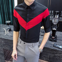 half shirts men NZ - High Quality Plus Size Men Casual Shirt Fashion 2020 Summer Half Sleeve Men's Social Shirts Patchwork Color Slim Fit Tuxedo 5XL