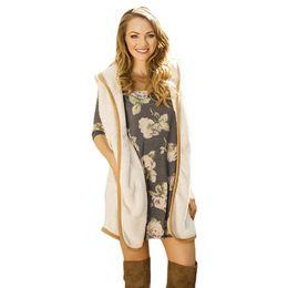 Christmas Vests Women UK - 2017 Women Autumn Waistcoats Length Jacket Hooded Thick Cotton Coat Warm Velvet Sleeveless Vests Female Plus Size Christmas gift