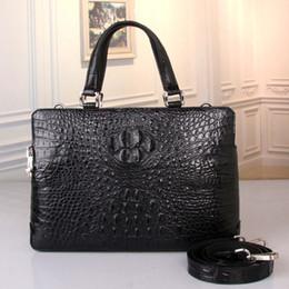 Genuine Crocodile Skin Leather NZ - Business Designer Genuine Crocodile Skin Coded Lock Closure Men Large Portfolio Handbag Alligator Leather Male Laptop Briefcase