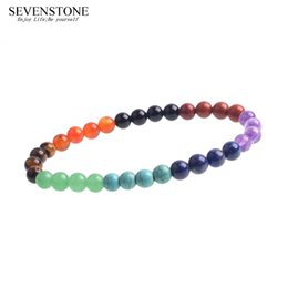 $enCountryForm.capitalKeyWord Australia - SEVENSTONE 2019 New 7 Chakras Bracelet Reiki Healing Balancing Round Beads 6MM Crystal Women Bracelets Rainbow Fashion Jewelry