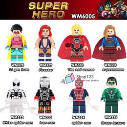 $enCountryForm.capitalKeyWord Australia - 100PCS LOT Red Woman Super Woman Spider man Iron Man Super Hero Green Lantern Action Figures Building Blocks Children Gift Toys