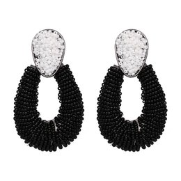Earrings United States UK - 2019 the latest jewelry in Europe and the United States simple temperament earrings woman purely handmade rice bead earrings package mail