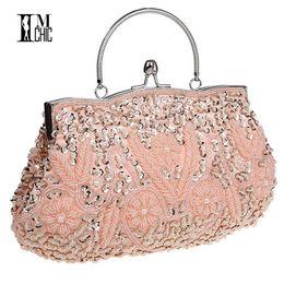 exquisite ladies handbags 2019 - Women Clutch Bags Beads Evening Exquisite Ladies Beaded Embroidered Wedding Party Bridal Handbag Wristlet bolsos Small 3