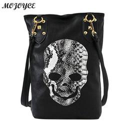 Ladies Punk Handbag NZ - Women Skull Shoulder Bags Female PU Leather Solid Punk Shoulder Bag Fashion Soft Women Handbags Black Large Lady Tote Bag Nice