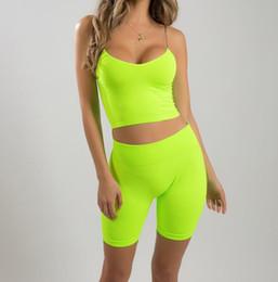 $enCountryForm.capitalKeyWord Australia - Fluorescent Yellow Training Yoga Shorts Gym Ladies Workout Sportswear Tights Lifting Hips Two-piece Suit Female Training Shorts