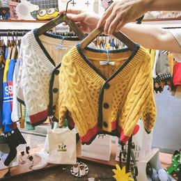 $enCountryForm.capitalKeyWord Australia - Baby Cardigan V Neck England Style Knitted Kids Girls Jacket Geometric Pattern Warm Clothes for Baby Boy