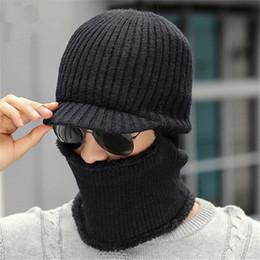 balaclava knitting 2019 - Men Winter Hat Scarf Beanie Thick Fleece Warm Knitted Caps Neck Warmer Casual Outdoor Ski Hats Balaclava Male Skullies B