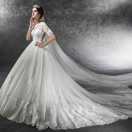 $enCountryForm.capitalKeyWord Australia - French wedding girl new bride towing mid-sleeve high waist pregnant woman wedding dress large size Hepburn winter