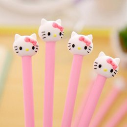 Stationery Australia - 4pcs Soft Plastic Head Cute KT Cat Head Gel Pen Black Ink 0.38mm Refill Creative Stationery Gift Kawaii Children School Supplies