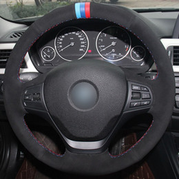 $enCountryForm.capitalKeyWord Australia - Black Suede Light Blue Blue Red Marker Car Steering Wheel Cover for BMW F30 316i 320i 328i