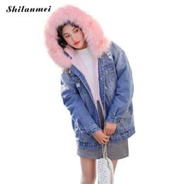 a519e339eb4 Women Korean Style Outwear UK - New Korean Style Fashion Fur Collar Hooded Denim  Jacket 2018
