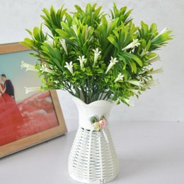 Fake Lilies Flowers Australia - Artificial Plastic Lily Flowers Plants Fake Leaves Garden Shrubs Green Grass Bushes Faux Morning Glory Home Outdoor Decoration