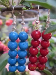 Tibet Coral Beads NZ - Pair 2PCS Tibetan Tibet Silver And Turquoise   Coral Beads Drop Earrings