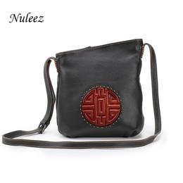 $enCountryForm.capitalKeyWord Australia - Nuleez Brown Genuine Leather Bag Real Leather Handbags Bucket Women Shoulder Messenger Cross-body Bags Chinese Mooncake Embossed Y19061301