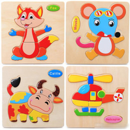 Baby 3D Puzzles Jigsaw Wooden Toys For Children Cartoon Animal Traffic Puzzles Intelligence Kids Early Educational Training Toys DHL Free on Sale
