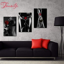 "black diamond full Australia - 5D DIY Diamond Painting Women Full Square Drill 3pcs""Black White Girl with Red Rose""Embroidery Cross Stitch Mosaic Home Decor"