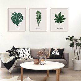 Painting Plants Australia - Minimalist Green Plant Monstera Leaf Poster Prints Nordic Style Living Room Kitchen Wall Art Pictures Home Decor Canvas Painting