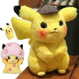 Cotton Cherry Australia - High Quality Pikachu Detective Stuffed Toys Japan Anime Game Dolls Toys For Boy Cherry Blossom Head Lady Pikachu Shout Pikachu Y190518