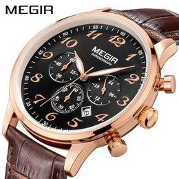 $enCountryForm.capitalKeyWord Australia - MEGIR Original Luxury Men Quartz Watch Erkek Kol Saati Chronograph Business Watches Leather Wrist Watch Clock Relogio Masculino