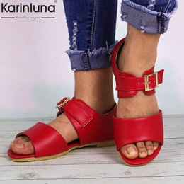 sandals casual Australia - Karinluna 2019 Ins Style Pu Leather Summer Women Casual Sandals Big Size 48 Concise Leisure Beach Shoes Woman Flat Heels Sandals Y19070503