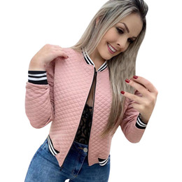 cool zipper sweaters NZ - Women's Jackets Outerwear Coats designer veste femme zipper Cool Leisure pink diamond Lattices fashion Sweater Women's wear Short coat