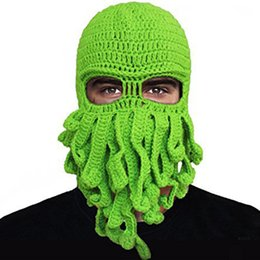 7PCS LOT SINGYOU Unisex Handmade Crochet Funny Tentacle Octopus Cap Men  Women Knitted Windproof Mask Cap Halloween Gift Hats C18122501 b7e2ada9fd12
