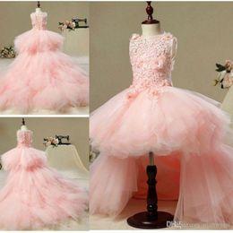 Wedding Vest Pink Australia - Cheap Pink Jewel Tulle Lovely Flower Girl Dress For Wedding Tea Length Open Back First Holy Communion Dresses