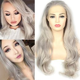 Discount hair fashions wigs - Fashion Platinum Gray Trendy Lace Front Wigs Natural Wavy Heat Resistant Synthetic Hair Half Hand Tied Wigs for Women Co