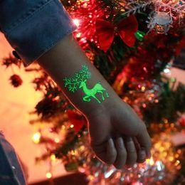 Christmas Stickers Wholesale Australia - 1Pc Party Decoration Luminous Temporary Tattoo Stickers Christmas Carnival Party New Year Decor Christmas Decorations
