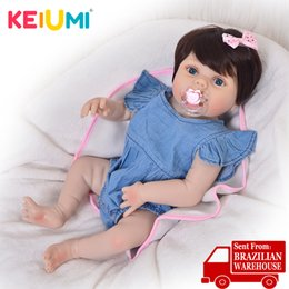 toy full body NZ - KEIUMI 57 cm Full Body Silicone Reborn Dolls Babies 23'' Ethnic Reborn Baby Girl Lifelike Lovable Princess For Kids Party Toys MX200414