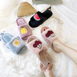 decefc72fe88 Fruit Slippers Canada - 2018 New Fruit Fur Slippers Cartoon Slides Soft  Winter Slip on Warm