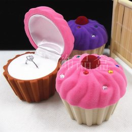 Cupcake Jewelry Wholesale Australia - Cute Candy Color Flannel Cupcake Jewelry Box Packaging Box for Earrings Ring Necklace Pendant Small Jewelry Packaging