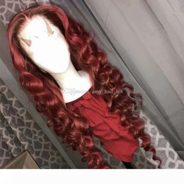 dark burgundy lace front wigs UK - #99J Wine Red Full Lace Human Hair Wigs Loose Wavy Peruvian Burgundy Hair Glueless Lace Front Wigs Middle Part 150% Density