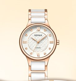 Butterfly White Rose Australia - 2018 fashion waterproof fashion ceramic ultra-thin small dial simple women's watch rose gold white porcelain white surface